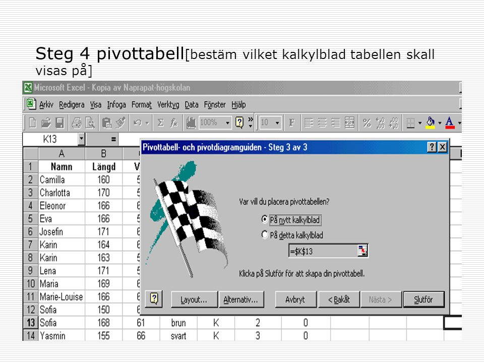 Steg 4 pivottabell[bestäm vilket kalkylblad tabellen skall visas på]